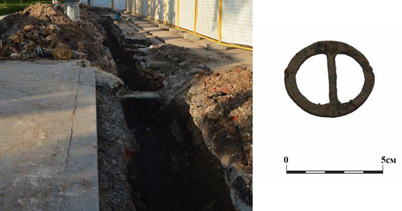 В ходе работ на Тверской улице обнаружили часть ограды Страстного монастыря.