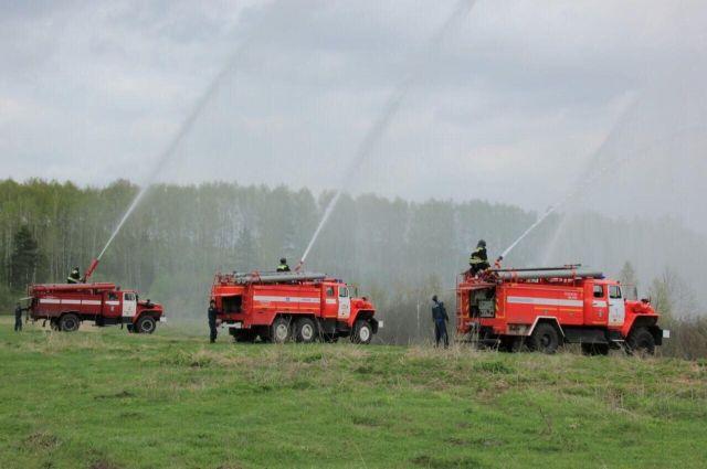 В Елыкаево прошли учения по ликвидации лесных пожаров.