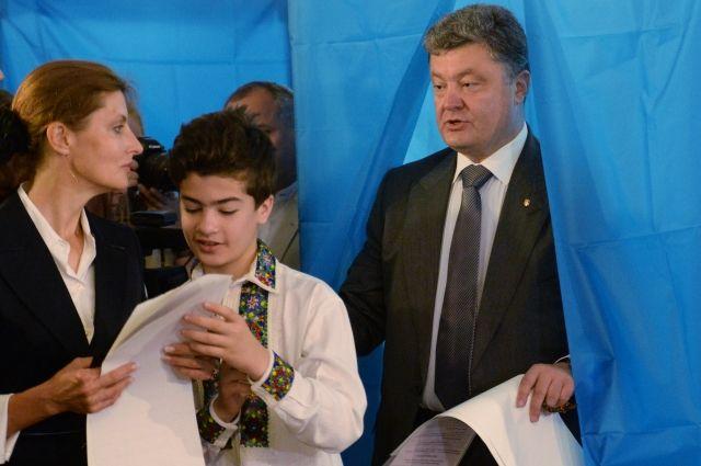 Петр Порошенко с супругой Мариной и сыном Михаилом