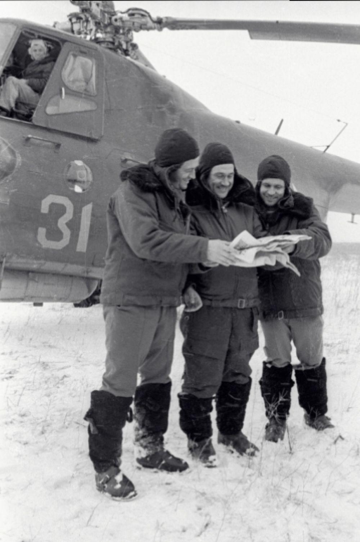 Слева направо: космонавты Владислав Волков, Анатолий Филипченко и Виктор Горбатко после приземления. 1969 год.