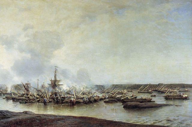 """Картина Боголюбова """"Сражение при Гангуте 27 июля 1714 года""""."""