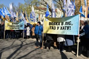 Участники акции против повышения тарифов ЖКХ в Киеве.