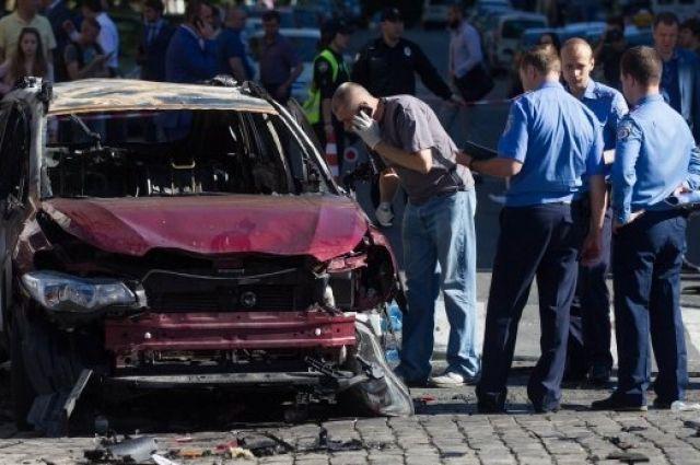 На месте взрыва машины Павла Шеремета