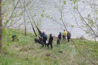 Спасатели решили попробовать извлечь корову при помощи альпинистских веревок, но из-за травмы задних конечностей животного это результатов не дало.