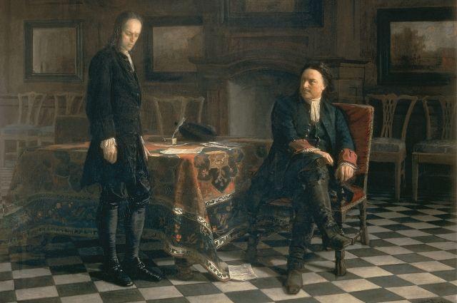 Фрагмент картины «Пётр I допрашивает царевича Алексея».