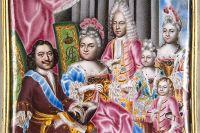 Семейный портрет Петра вместе с Екатериной, сыном царевичем Алексеем и детьми от второй жены. Мусикийский Г. C., миниатюра на эмали.