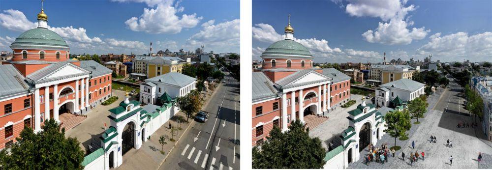 Пространство перед Казанским Богородицким монастырем может стать пешеходным.