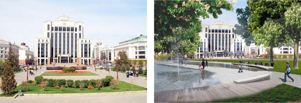 По мнению некоторых казанцев, площади Свободы не хватает фонтана.