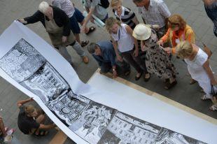 Панорама улицы Ленина, выполненная в технике линогравюры.