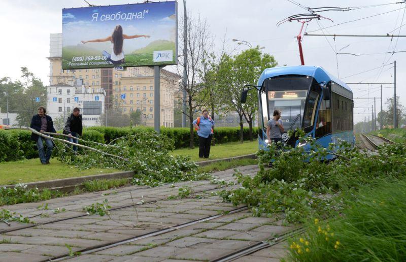Сломанное ураганом дерево на трамвайных путях в Москве.