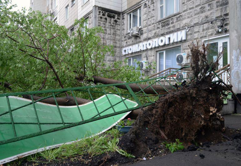 Поваленные ураганом деревья, во дворе жилого дома в Москве.