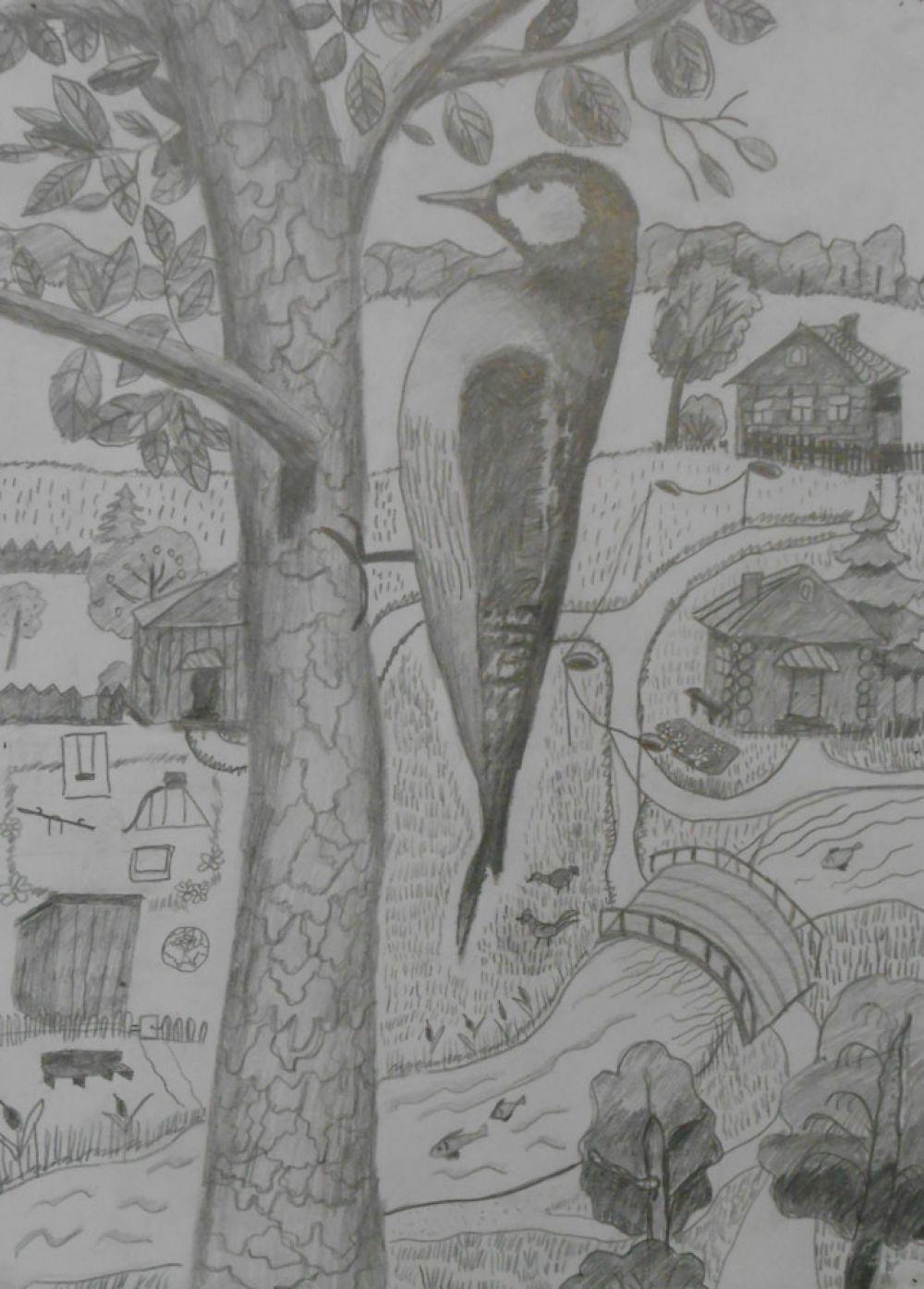 «За деревней слышу стук. Это дятел-леса друг»