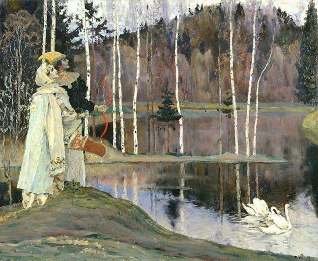Лишь немногие картины Нестерова посвящены счастливой любви. Например, «Два лада» (1905).