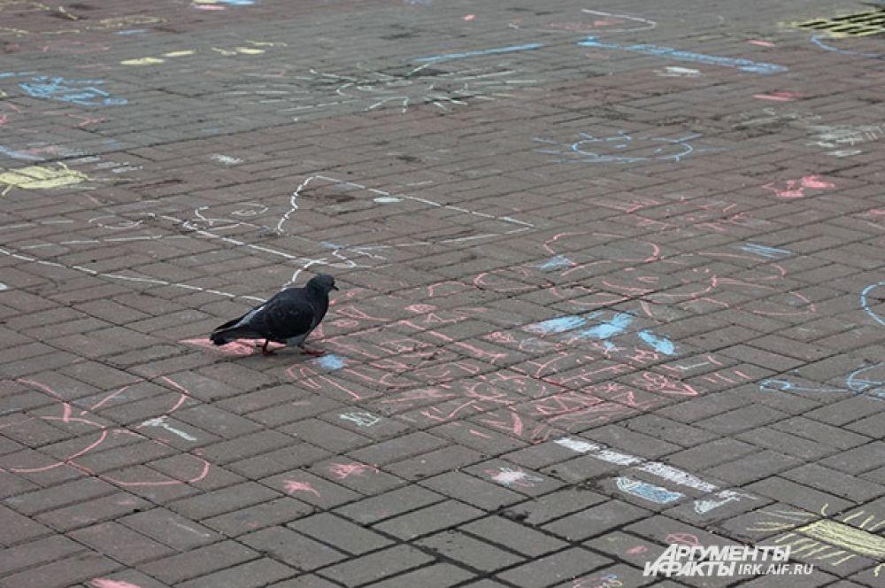 Рисунки на асфальте интересны только голубям.