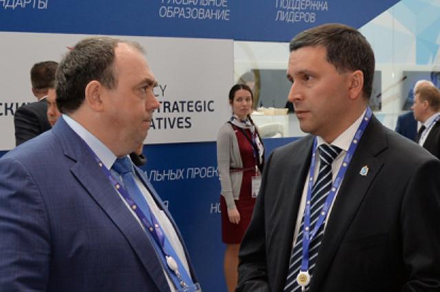 Глава Ямала Дмитрий Кобылкин и его заместитель Алексей Ситников представляют округ на Экономическом форуме.