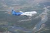 МС-21 летит над Ангарой.