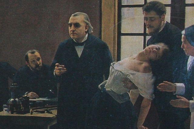 Шарко читает лекцию об истерии. Женщину поддерживает ученик Шарко Жозеф Бабинский.