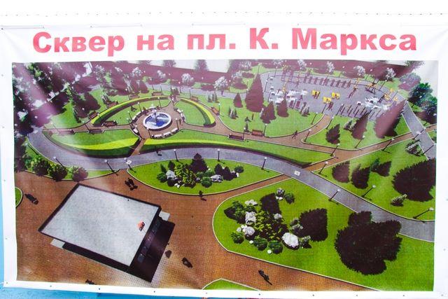 Так будет выглядеть зеленая зона главной площади левобережья.