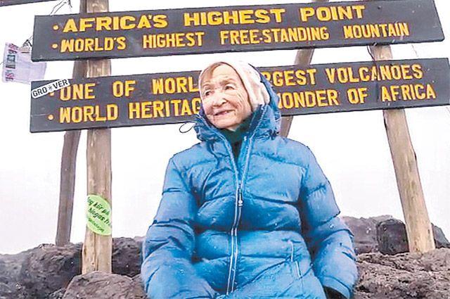 Ангела Викторовна Воробьёва на вершине горы Килиманджаро.