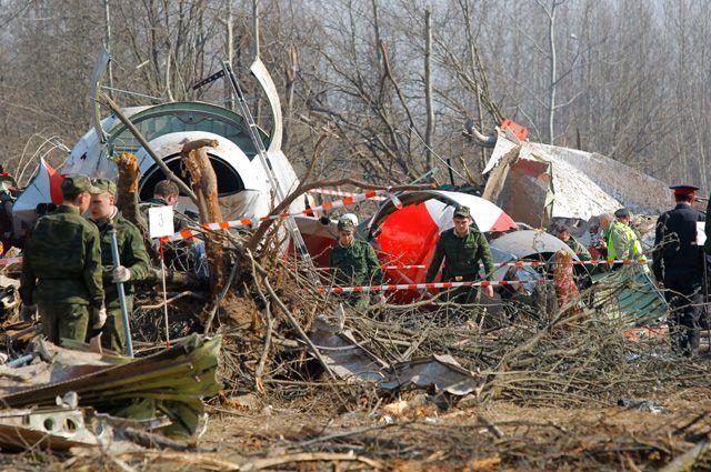 Место крушения Ту-154 под Смоленском.