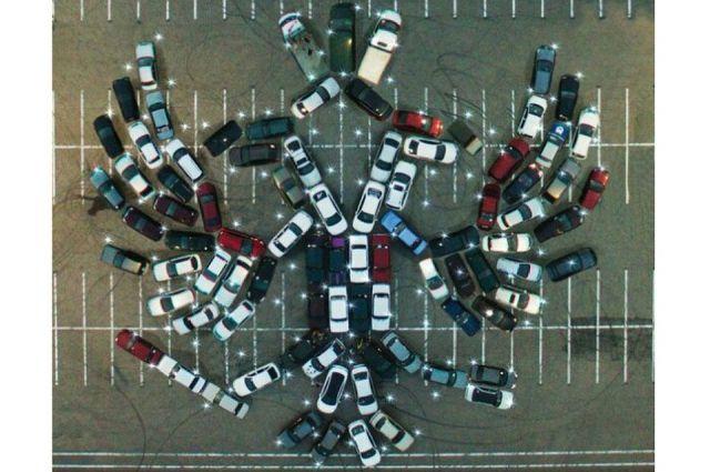 Владельцы автомобилей выстроили из100 машин фигуру двуглавого орла вВоронеже