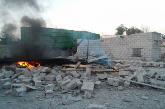 Поселок Сартана после обстрела