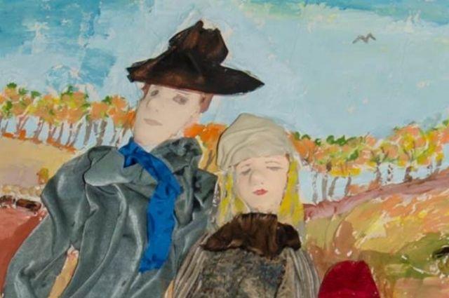 Фрагмент работы участников ярмарки, картина «Осенняя прогулка», которую дети представляли в 2016 г.