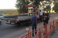 Поврежденный эвакуатор в Иркутске.