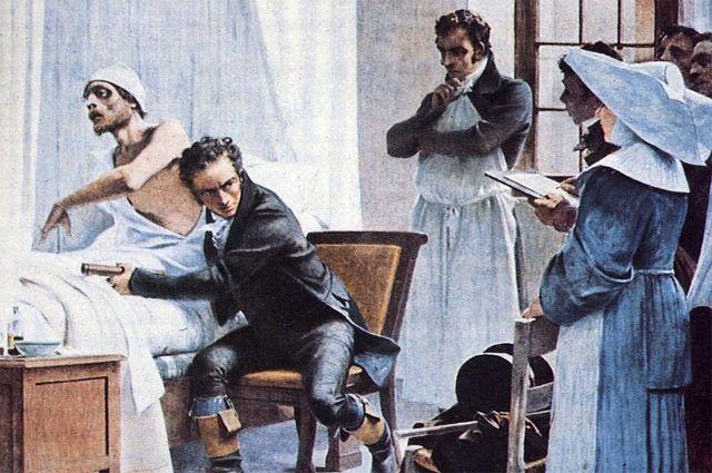 Лаэннек со стетоскопом осматривает пациента в присутствии студентов. Картина Теобальда Чартрана.