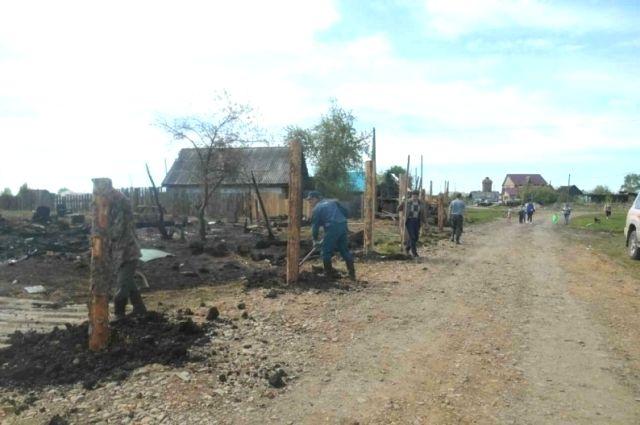 Восстановление после пожара поселка Юрты.