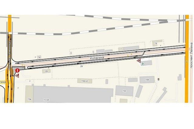 Схема движения автотранспорта на ул. Кулагина