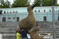 Из сена мастера создают скульптуры птиц, которые водятся в Пермском крае.