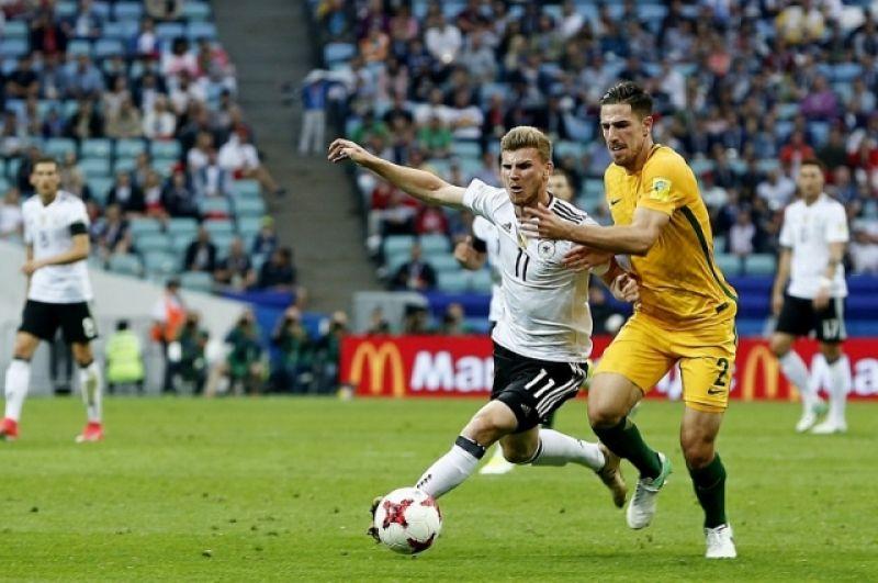 Германия открыла счет в матче, но австралийцы защищались ожесточенно.