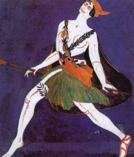 Александра Экстер. Эскиз костюма к драме И. Ф. Анненского «Фамира Кифаред». Менада. 1916