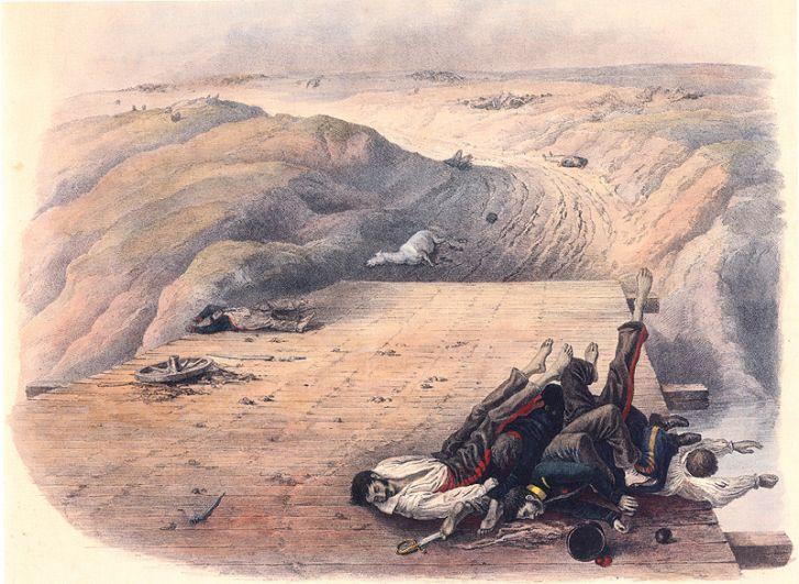 Тела погибших солдат Великой Армии Наполеона, оставленные на мосту через реку Колочь после Бородинского сражения 1812 года.
