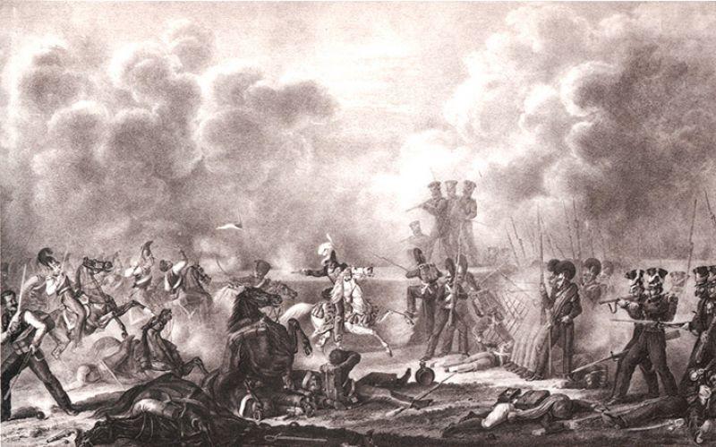 На Бородинском поле у Семеновского, 7 сентября 1812 года (бой за Багратионовы флеши, в центре маршал Иоахим Мюрат).