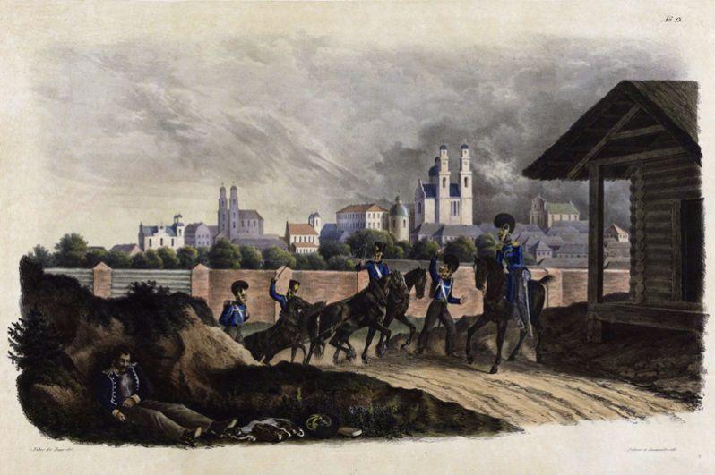 Полоцк, панорама города, 25 июля 1812 года.