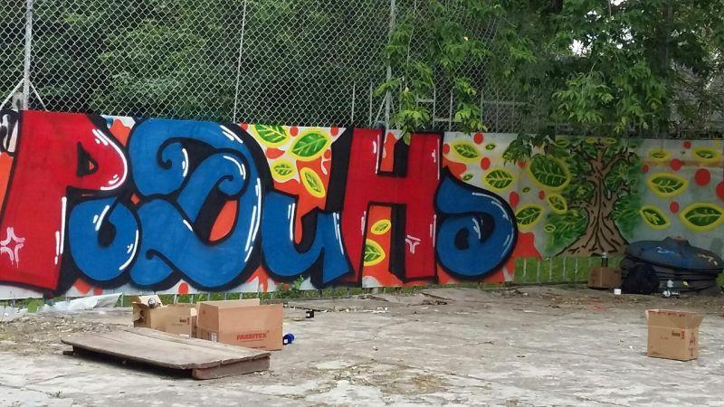 Третье место на конкурсе граффити поделили три художника — Даниил Новиков, Владислав Андросов и Максим Бодренков, создавших комплексную работу «Родина».