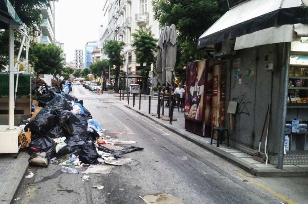 Забастовка коммунальщиков в Греции.