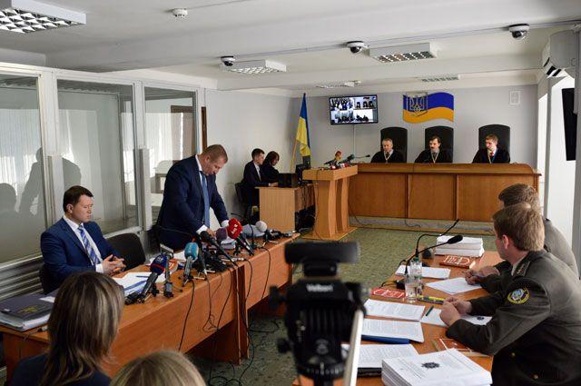 Заседание Оболонского суда Киева по делу бывшего президента Украины Виктора Януковича.