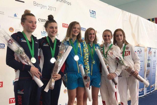 Победители и призеры первенства Европы в синхронных прыжках с вышки среди девушек.