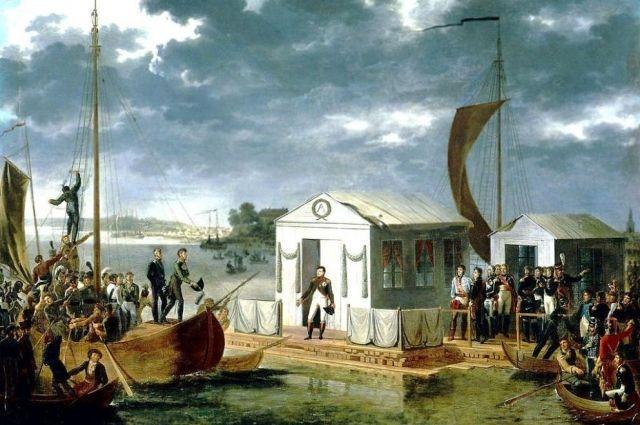Встреча Наполеона I-го и Александра I-го на Немане 25 июня 1807 года. Адольф Рон.