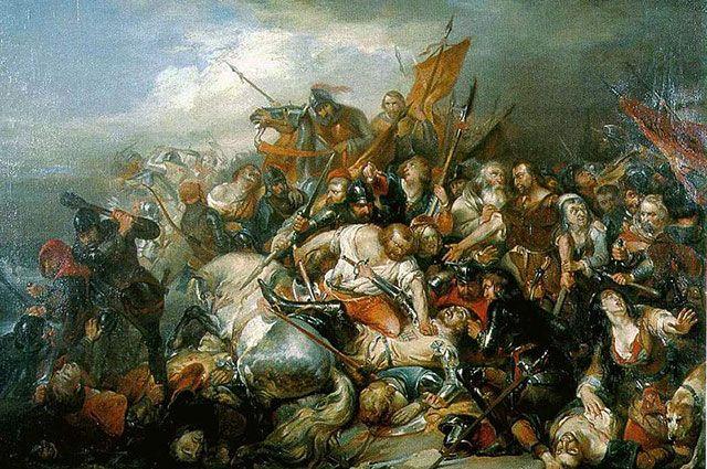 Битва «золотых шпор» (1836). Художник Никез де Кейзер.