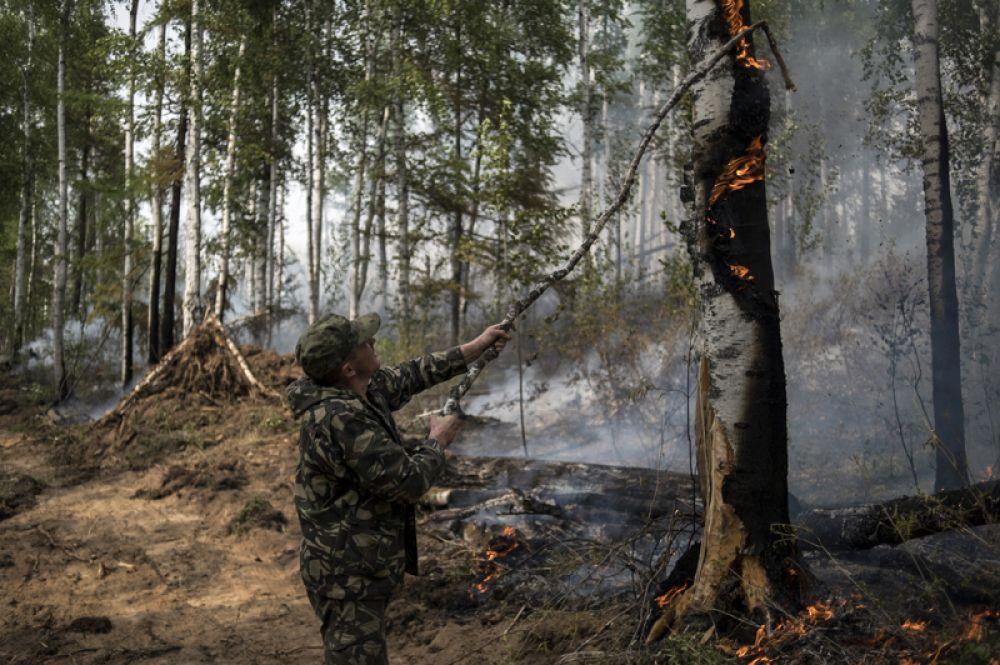 Местный житель принимает участие в ликвидации пожара в окрестностях села Бичура в Бичурском районе Бурятии.