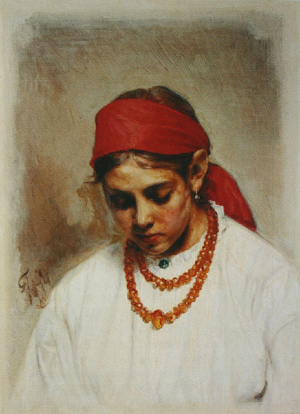 «Голова девушки в повязке. Этюд», 1874 год.