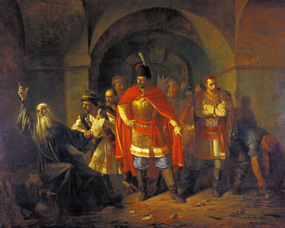 «Патриарх Гермоген отказывает полякам подписать грамоту о роспуске ополчения», 1860 год.