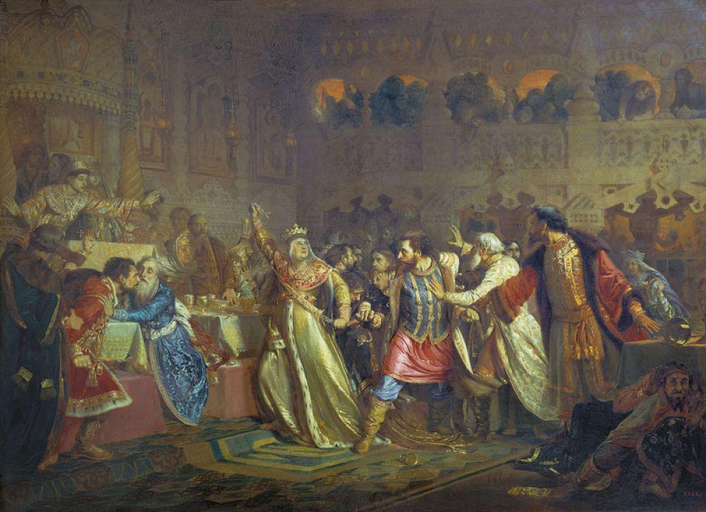 «Великая княгиня Софья Витовтовна на свадьбе великого князя Василия Темного в 1433 году срывает с князя Владимира Косого пояс, некогда принадлежавший Дмитрию Донскому», 1861 год.