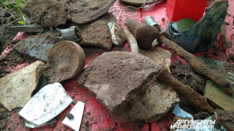 В земле нашли кости и осколки.