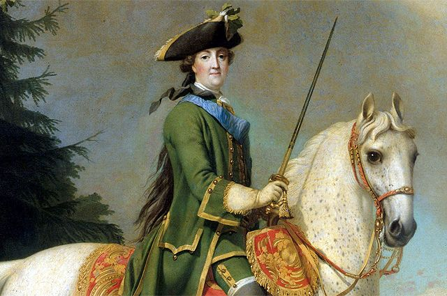 Виргилиус Эриксен. Конный портрет Екатерины Великой. Фрагмент.