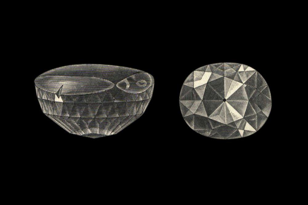 Один из наиболее знаменитых алмазов в истории, «Кохинур», в настоящее время находится в короне королевы Елизаветы II. История «Кохинура» прослеживается достоверно с 1300 года, легенды же рассказывают о значительно более ранних событиях, связанных с этим камнем. Изначально алмаз имел массу 186 карат и обладал лёгким жёлтым оттенком, но после переогранки в 1852 году стал чисто белым.